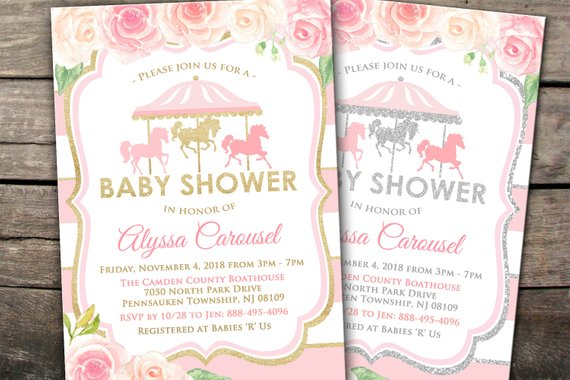10 off printed or digital carousel baby shower invitation pink gold