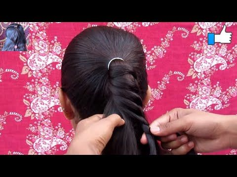 Ponytail Hairstyle With side Waterfall - YouTube