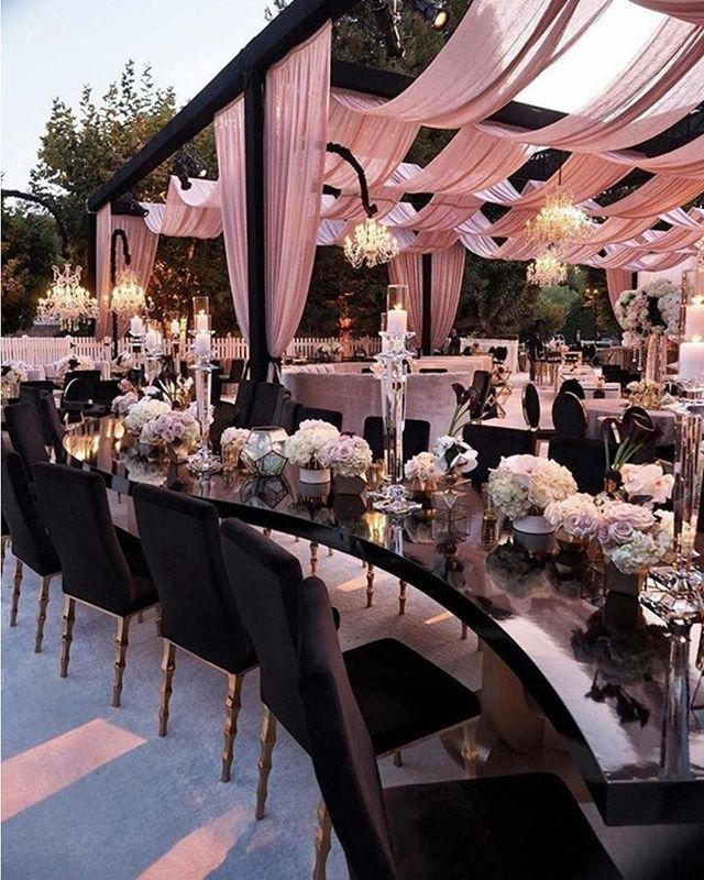 Outdoor Wedding Seating Ideas: Loving The Subtle Pink And Black Combo. 🌸💕🌸 Draping And