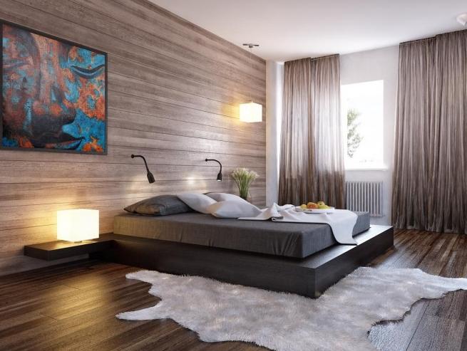 20 Bedroom Area Rugs Interiorforlife Com Minimalist Decor With Dark Wood Floors And A Fur Rug Minimalist Home Decor Minimalist Bedroom Minimalism Interior