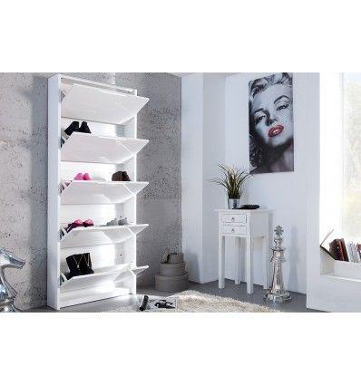Sublime Meuble A Chaussures Moderne Coloris Blanc Brillant Il Est Fabrique En Mdf Laque De Haute Qualite Et Recou Meuble Chaussure Meuble Espaces De Stockage