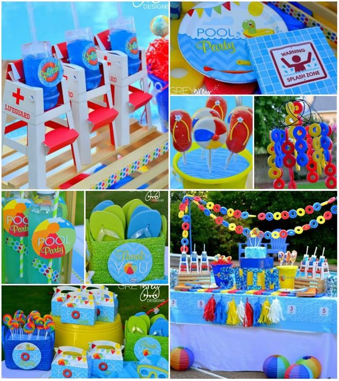 Pool Party Ideas Kids luau theme birthday party ideas pool partieskid Summer Pool Party Ideas Planning Cake Idea Supplies Beach Lifeguard