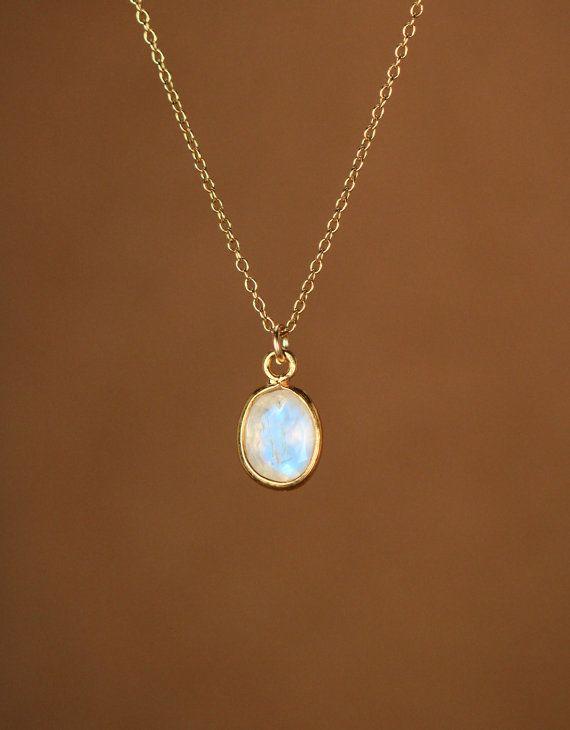 Gold Moonstone Necklace June Birthstone Dainty Oval Shape Necklace 18k Gold Filled Bezel Set Moonstone Minimal Jewelry