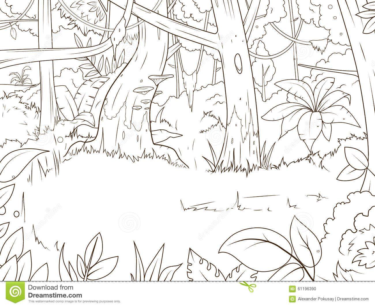 Vettore Del Libro Da Colorare Del Fumetto Della Foresta Della Giungla 61196390 Jpg 1300 1065 Libri Da Colorare Giungla Foreste