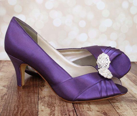 Wedding Shoes Purple Peep Toe With Oval Rhinestone Adornment