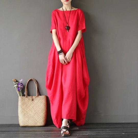 Boho Women Short Sleeve Maxi Kaftan Dress Ladies Casual Baggy Long Shirt Dress