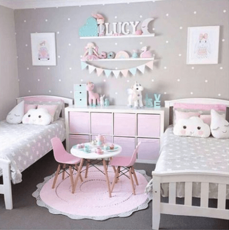 35 inspira es para quarto compartilhado meninas deco pinterest kinderzimmer babyzimmer. Black Bedroom Furniture Sets. Home Design Ideas