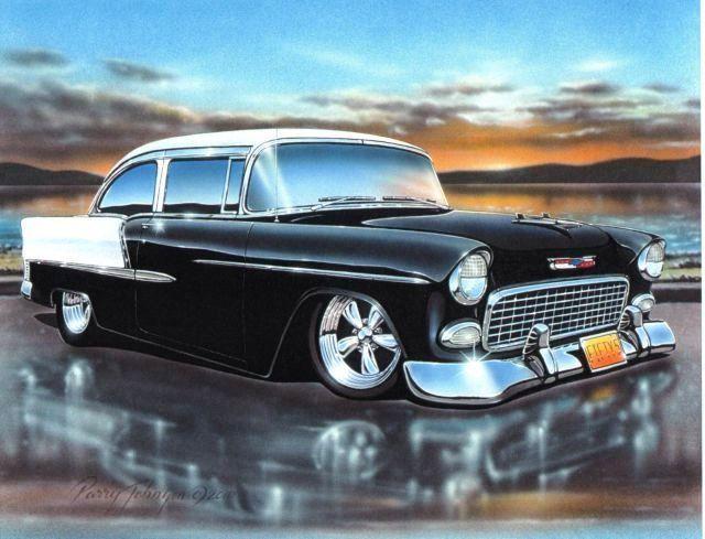 1955 Chevy 1955 Chevy Bel Air 2 Door Sedan Classic Car Art Print