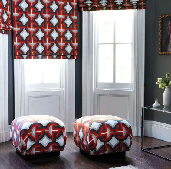 Dwellstudio For Robert Allen Decorative Modern Futura Fabric In Persimmon