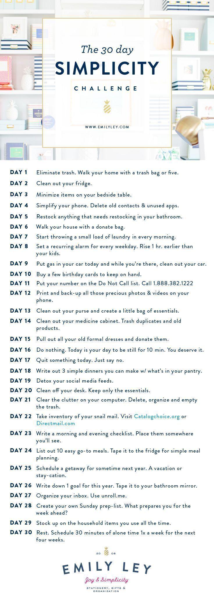 30 Tage zu einem einfachen, freudigen Leben. Nimm die Herausforderung heute an! ... - fashion beauty #fitnesschallenges
