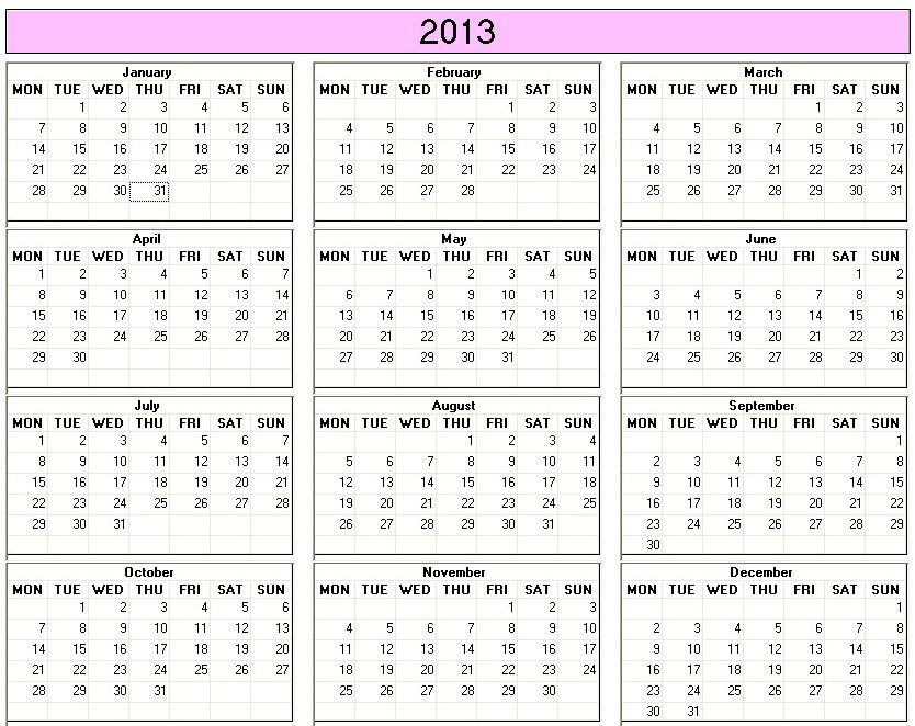 2013 Calendar To Print Free More Options At Www