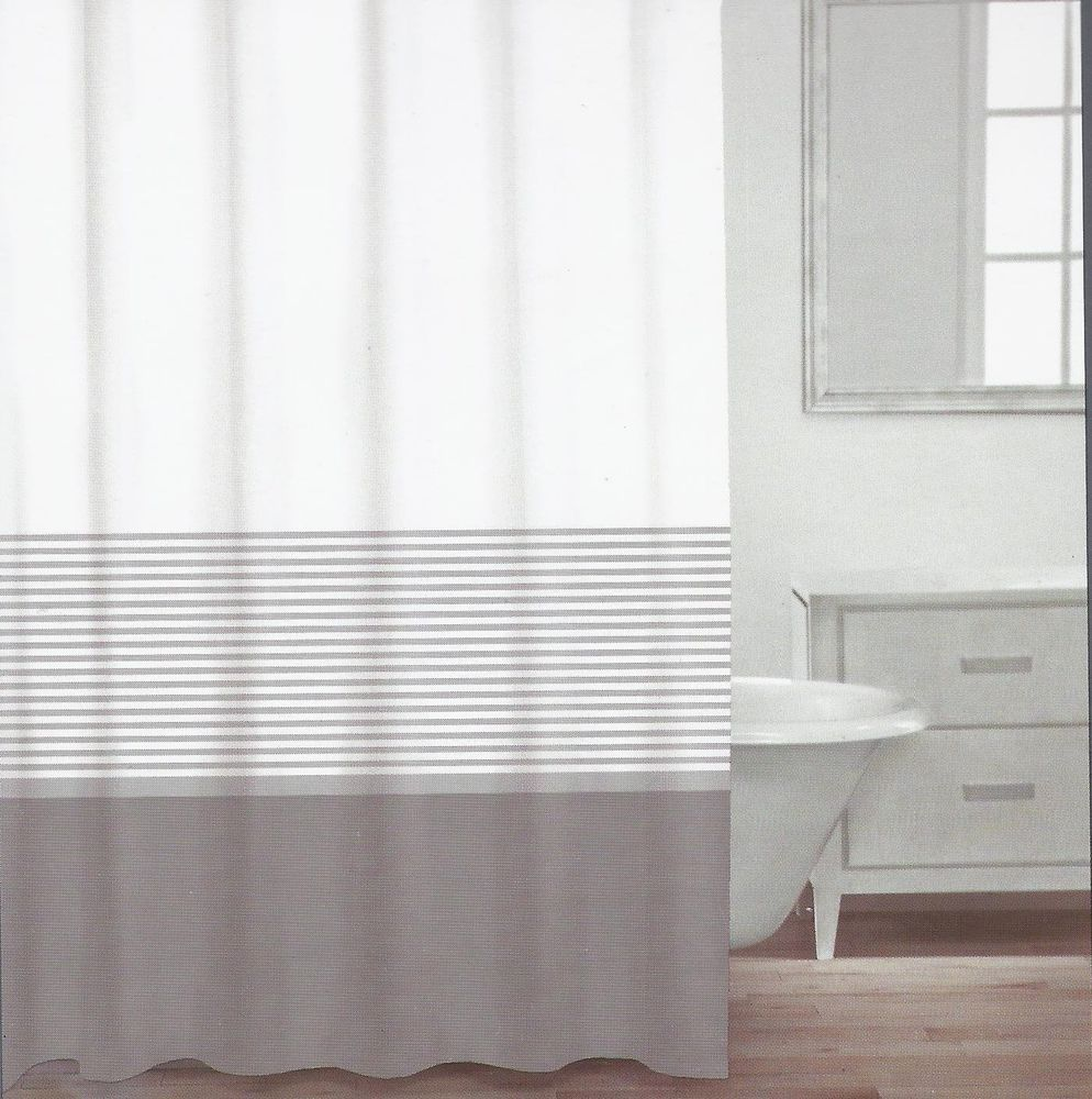 Caro Home Cotton Shower Curtain Wide Stripe Taupe Gray Silver
