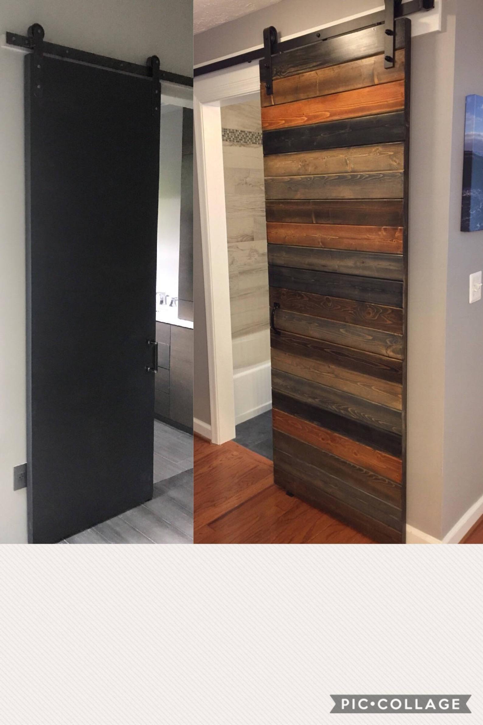 Photo of Custom Multi-Stain Horizontal Plank Sliding Barn Door