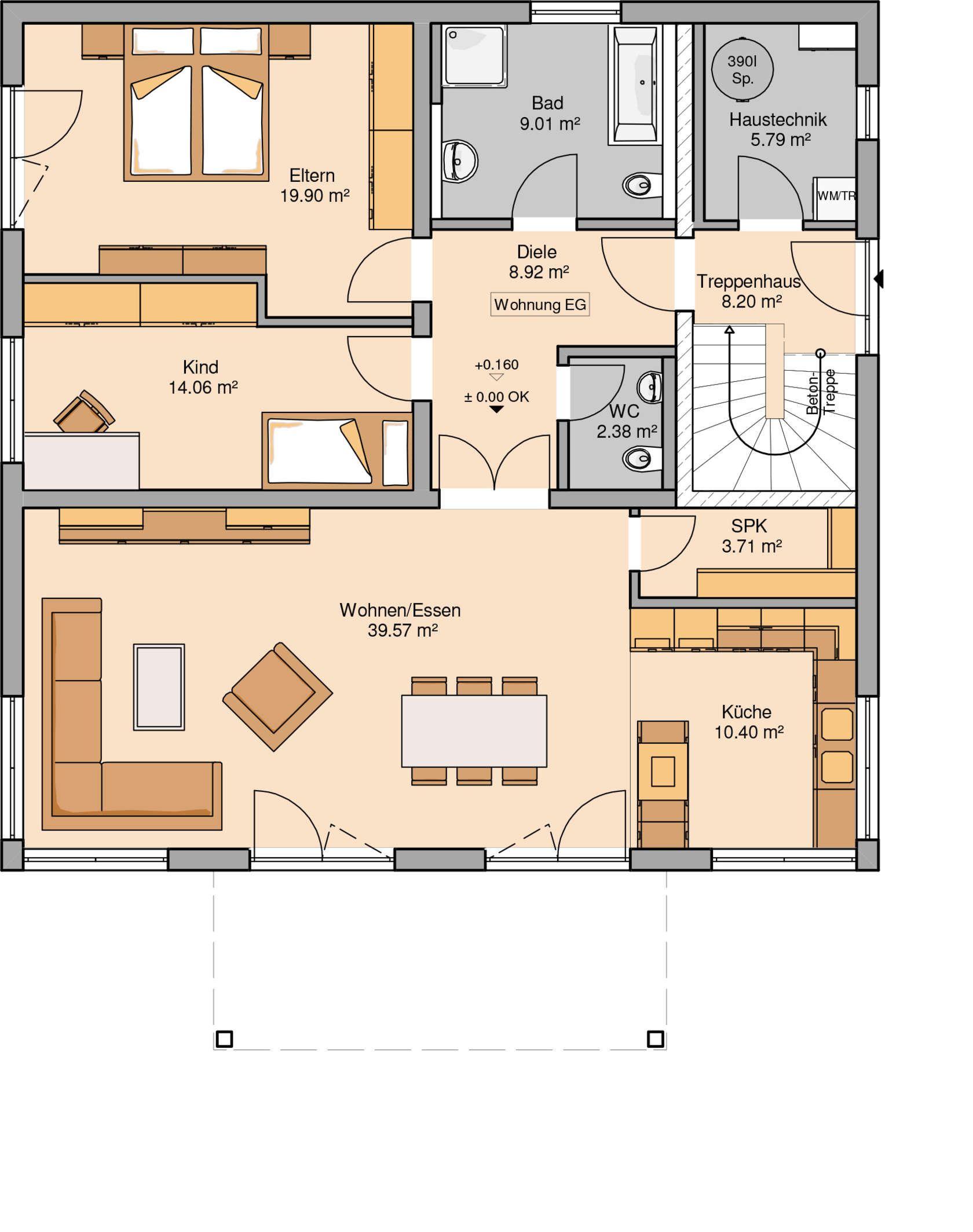 Zweifamilienhaus Duplea  Zwei Wohneinheiten  Haus grundriss