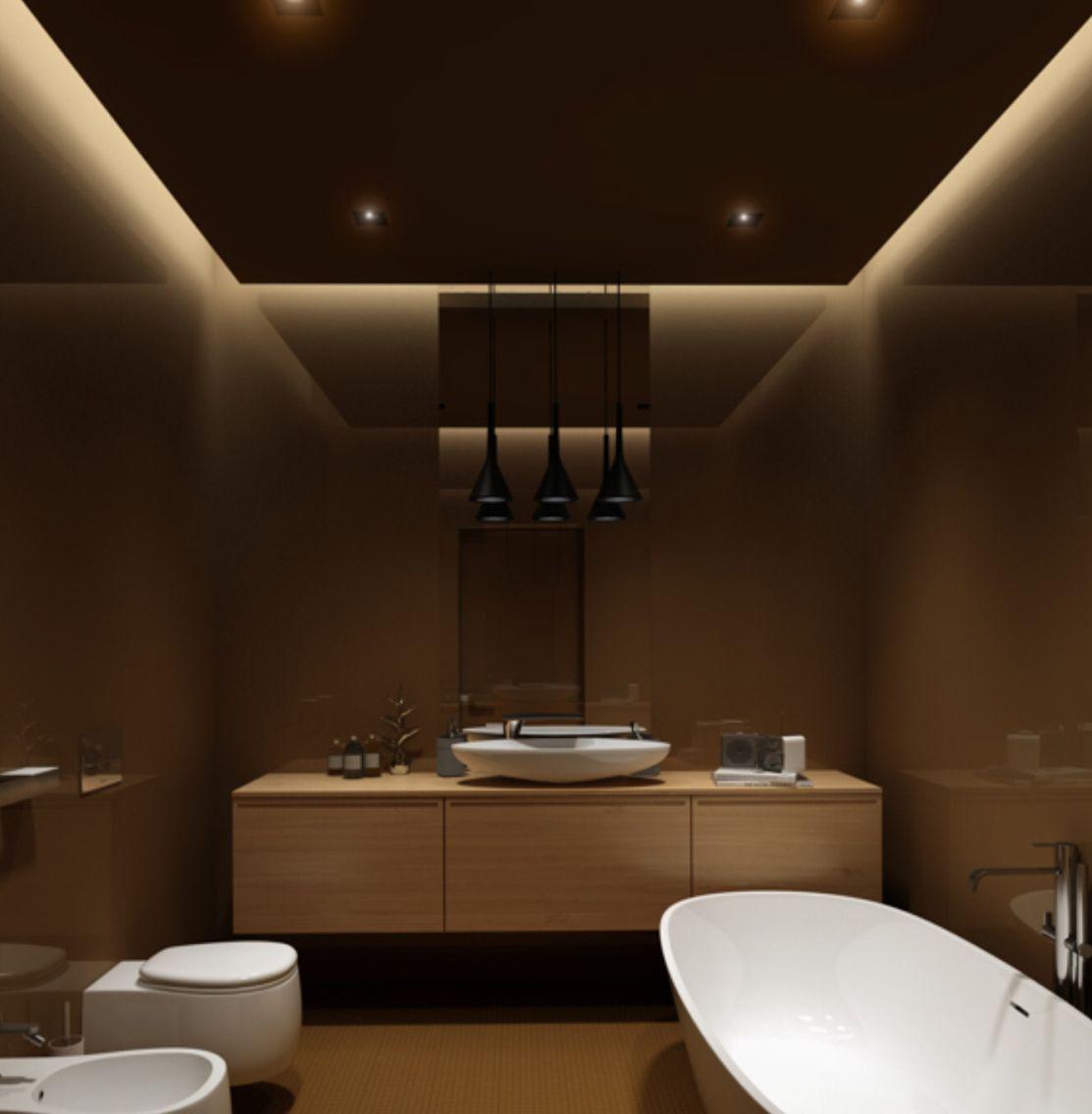 Modern bathroom ceiling design - 75 Projetos De Banheiros De Luxo Fotos