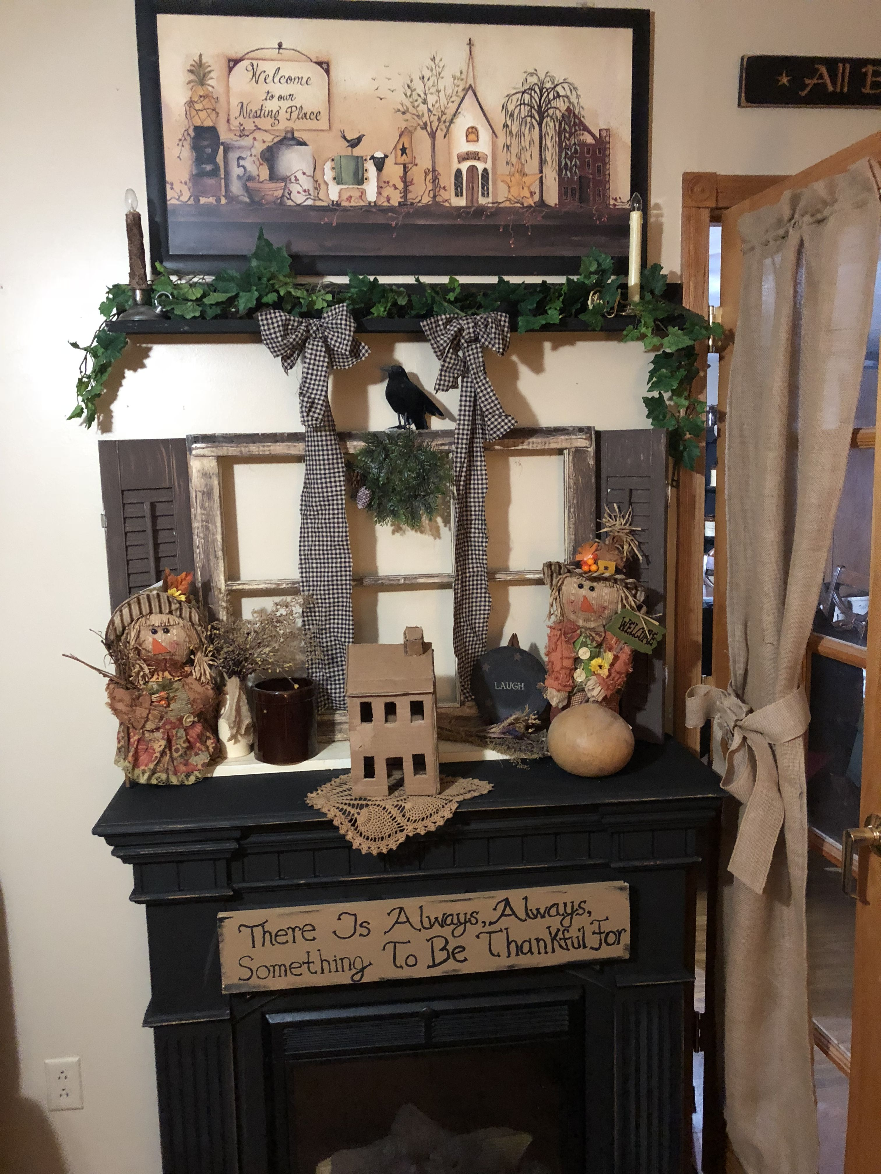 Primitive Fireplace And Diy Salt Box House Out Of Cardboard