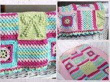Häkelanleitung Baby Decke 90x65 cm mit Grannys, crochet pattern baby blanket with grannys