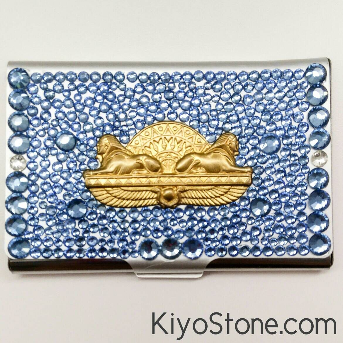 Blue and gold egyptian sphinx bling rhinestone business card case blue and gold egyptian sphinx bling rhinestone business card caseholder decoden jewel http colourmoves Image collections