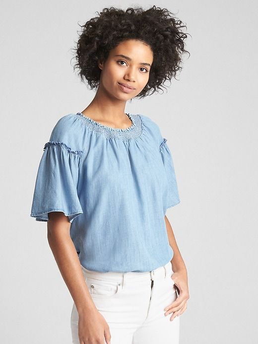 b275cb2cfacb0 Gap Womens Flutter Sleeve Smocked Neck Top In Tencel™ Light Wash ...