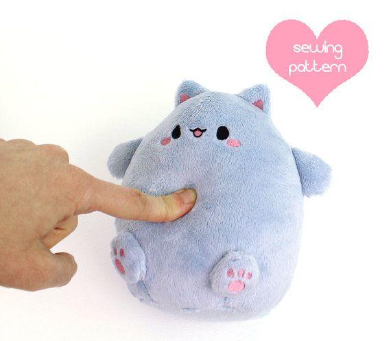PDF sewing pattern - Kawaii Fat Cat puff plushie - round plump ...