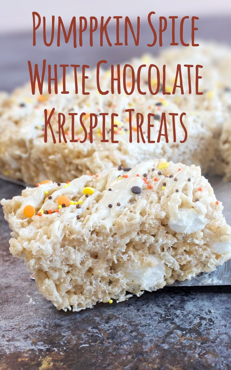 Pumpkin Spice White Chocolate Krispie Treats - My Country Table These Pumpkin Spice Krispie Treats have warm flavors of Fall with cinnamon and Pumpkin Pie spice.  They get topped with a white chocolate Pumpkin Pie Spice drizzle to finish them off.  The easiest Fall treat you will ever make!!