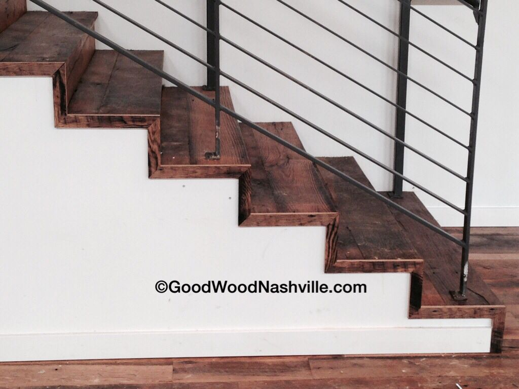 Reclaimed wood stairs at the Cordelle event space in Nashville, by Good Wood  Nashville. - Reclaimed Wood Stairs At The Cordelle Event Space In Nashville, By