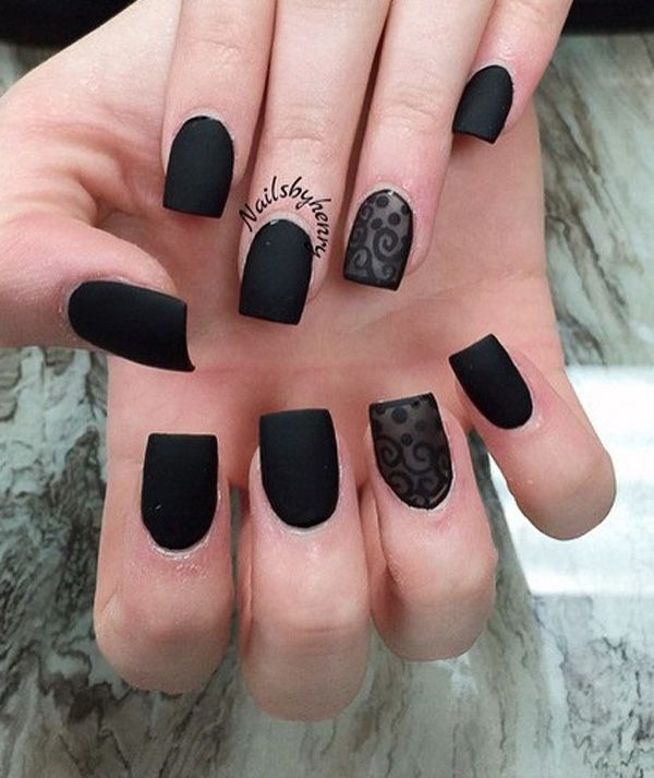 Matte Black Nail Polish With Lace Design Be Bold And This Amazing Looking Art That Is Easy To Recreate Gives Your Hands A Wonderful