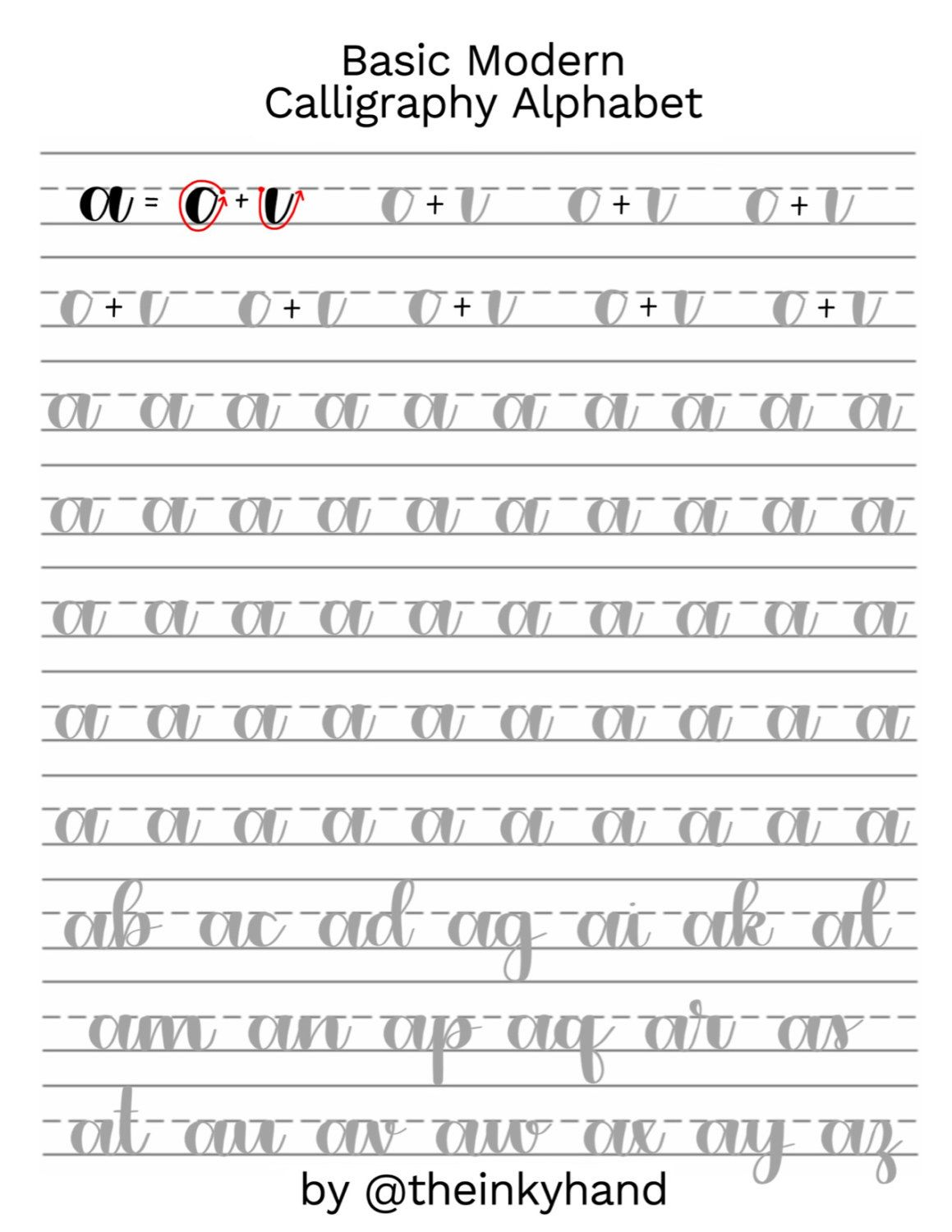 Basic Modern Calligraphy Practice Sheets By Theinkyhand Lowercase Alphabet Digital