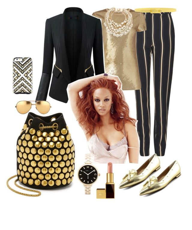 """I love gold"" by arabakone ❤ liked on Polyvore featuring Topshop, Jérôme Dreyfuss, Isaac Mizrahi, Michael Kors, Chicsense, Marc by Marc Jacobs, Kate Spade, Tom Ford, Linda Farrow and Tie-Ups"