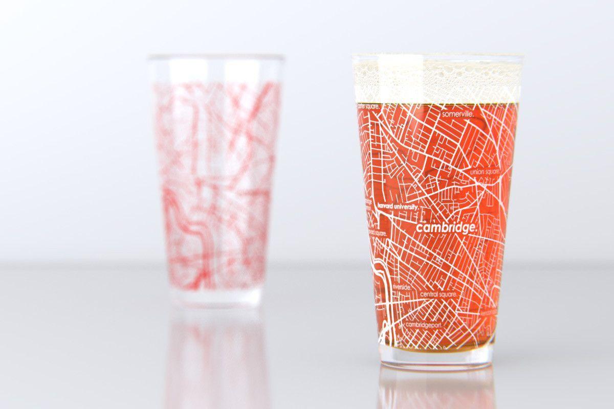 Cambridge Ma Harvard University College Town Map Pint Glass Set Harvard College Harvard University Harvard