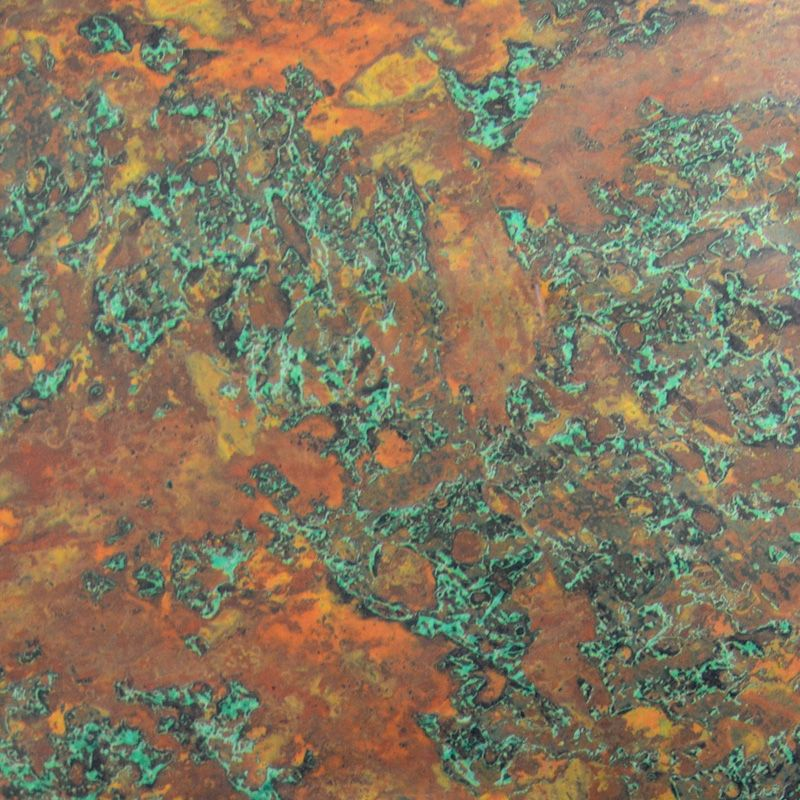 Weathered Copper foil- could cover tile!   Copper paint ...