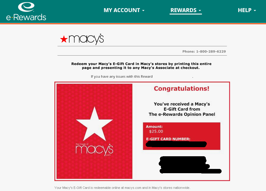 Instant $25 Macy's gift card from e-Rewards! I've been a member of ...