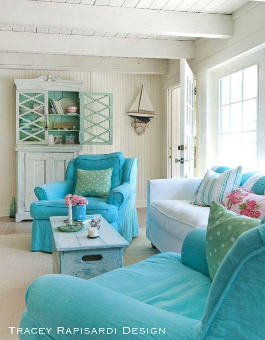 Blue Upholstered Sofa Living Room Chairs #beachcottageideas