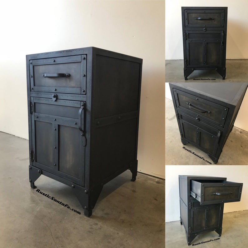 Best Industrial Nightstand Metal End Table With Straps And 640 x 480