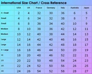 International Size Chart Cross Reference