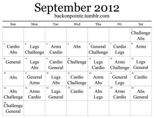 back on pointe september workout calendar-- doesn\u0027t look very