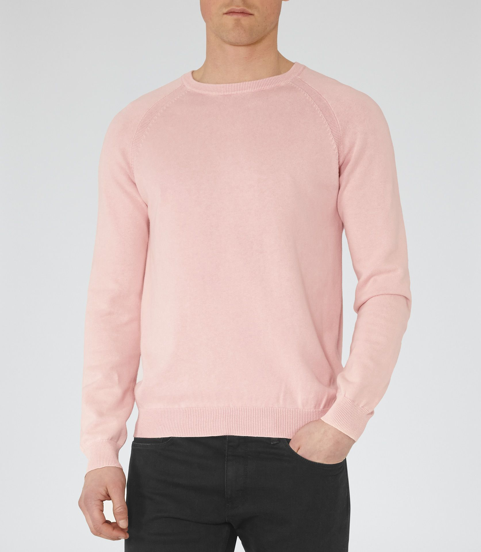 Mens Soft Pink Raglan Sleeve Sweatshirt - Reiss Anchor | Spring ...