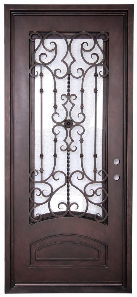 3'6″x8'0″ Audrey Square Exterior Wrought Iron Door
