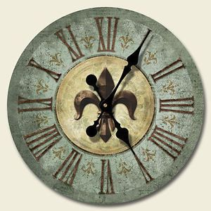 Fleur De Lis Wall Clock Tuscan Shabby French Country Bourbon