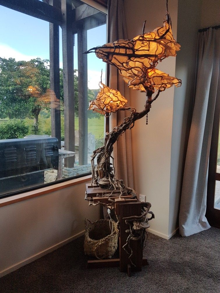 Drift Wood Tree Lamp With Wood Mushroom Canter Leaver Base Tree Lamp Light Sculpture Wood Lamps