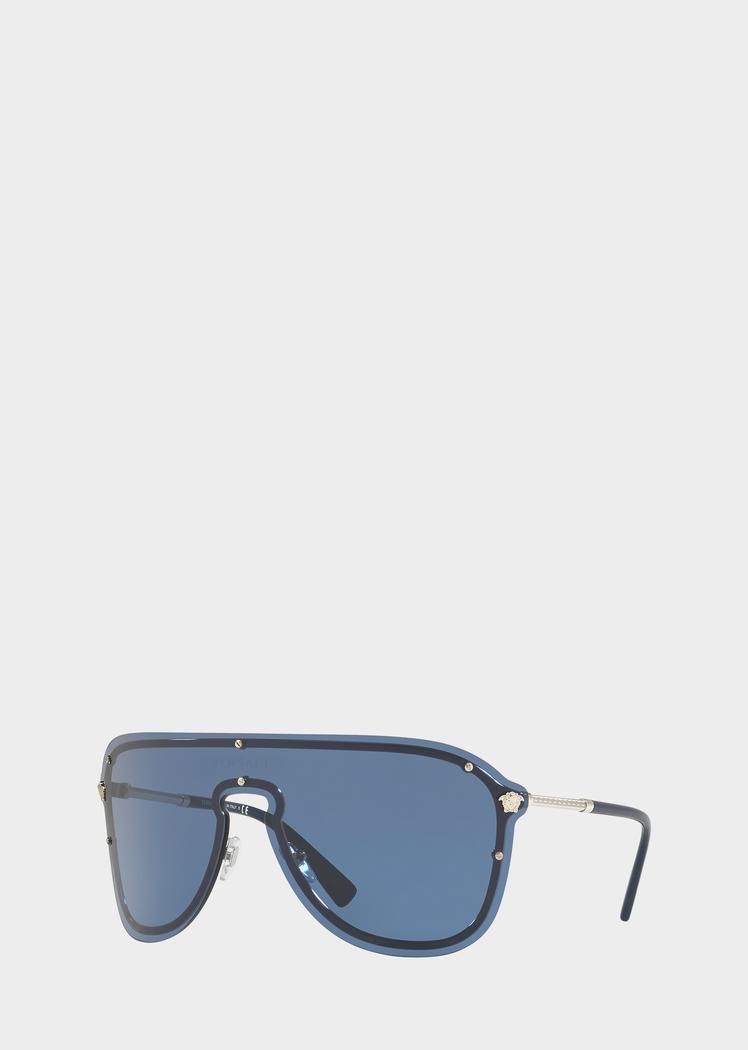 ebfd48cca19 Versace Blue  Frenergy Visor Sunglasses for Men