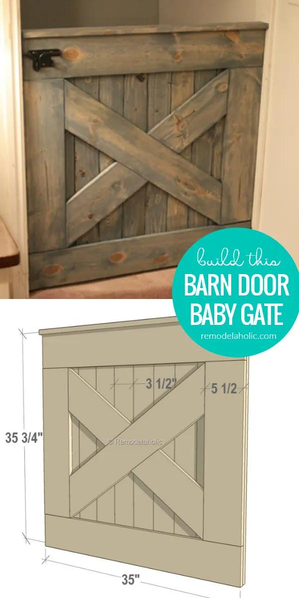 Diy Wooden Barn Door Baby Gate Building Plans In 2020 Barn Door Baby Gate Wooden Barn Doors Diy Baby Gate