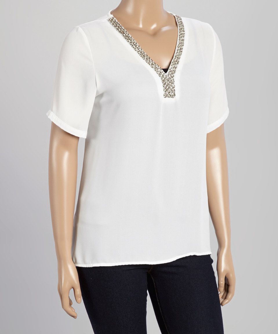Love this White Sheer Embellished-Neck Top - Plus by Daniel on #zulily! #zulilyfinds