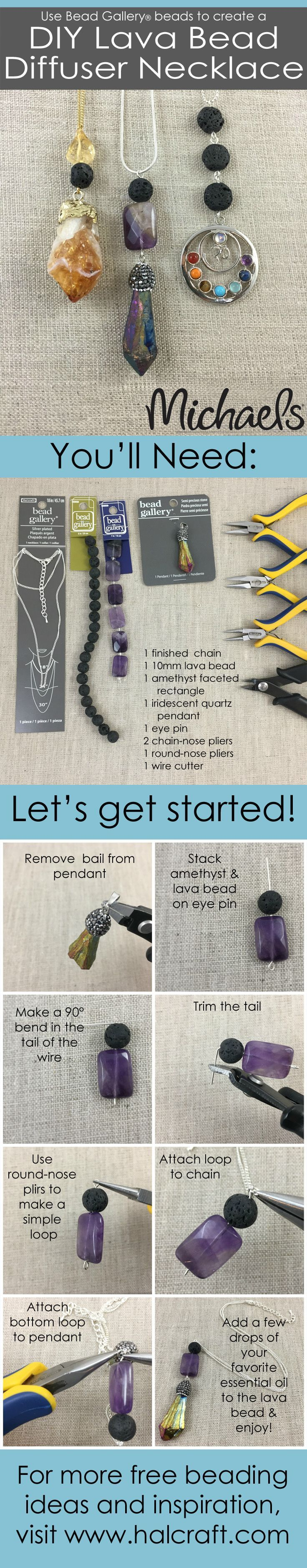 DIY Lava diffuser necklaces using Bead Gallery beads #madewithmichaels