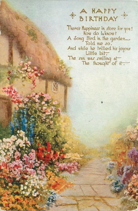 A Happy Birthday With Verse Mass Of Flowers In Front Of Cottage To Left Of Paved Path Garden Birthday Postcard Cottage Prints