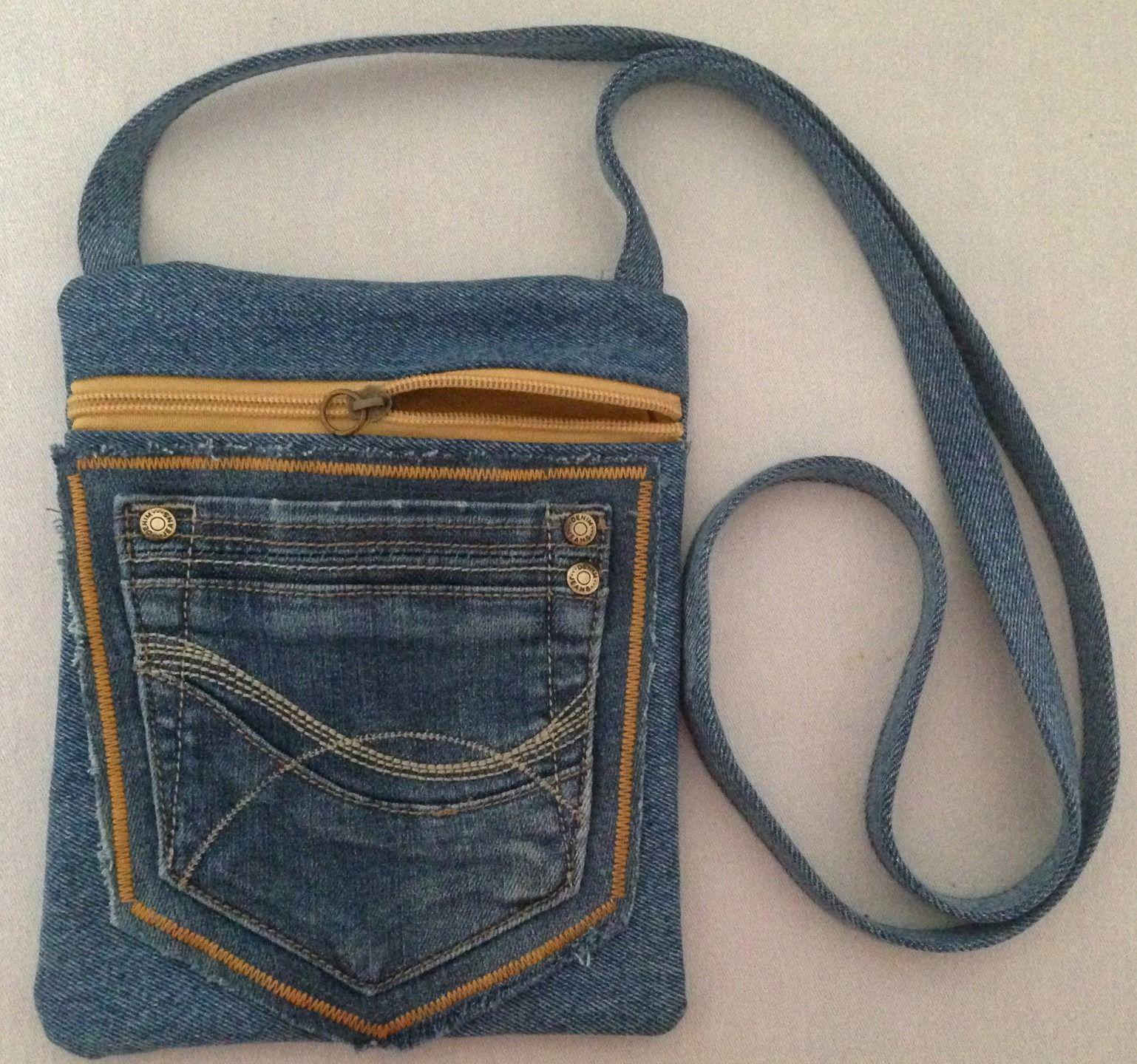 sac en jean pour t l phone 1 poche ventrale bandouli re doublure taffetas jaune sacs. Black Bedroom Furniture Sets. Home Design Ideas