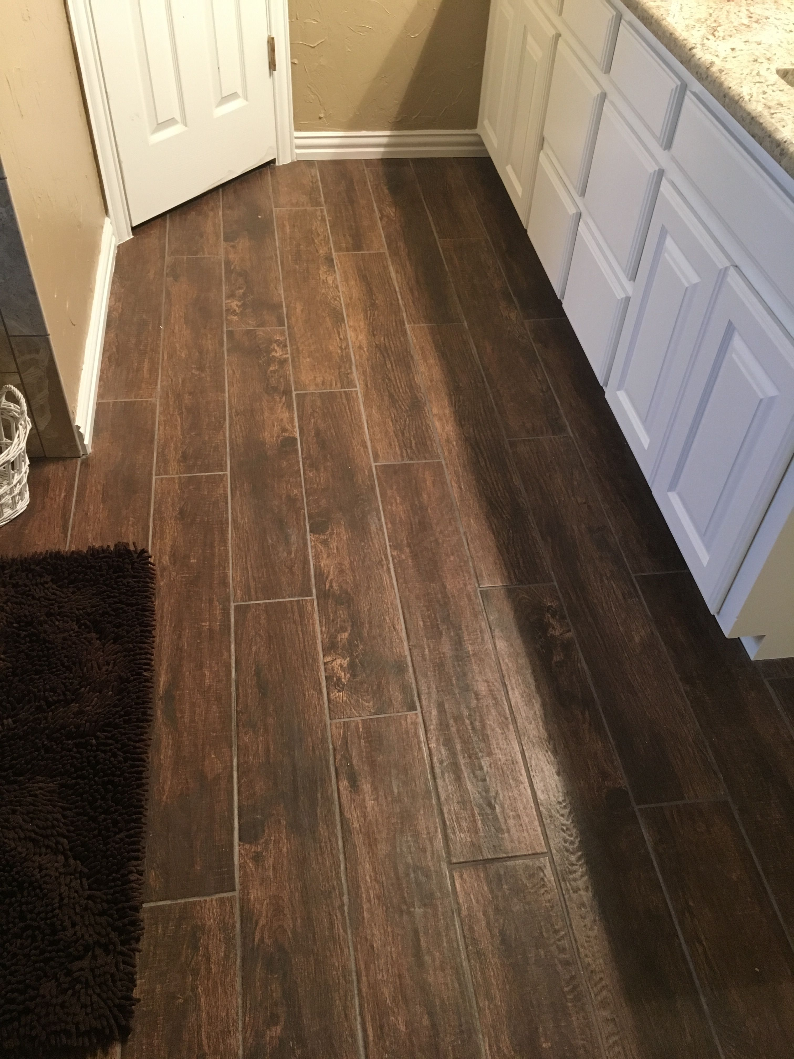 Bathroom Porcelain Tile Texas Castano 3x36 Made To Look Like Wood
