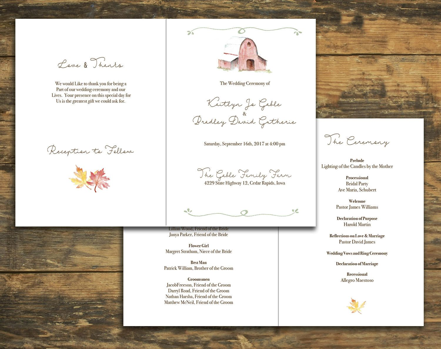 Country Barn Design Bifold Wedding Program Rustic Ceremony Programs By Ivoryisledesigns On Etsy