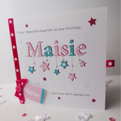 Handmade Personalised 1st Birthday Card Girl Monkey Handmade Cards
