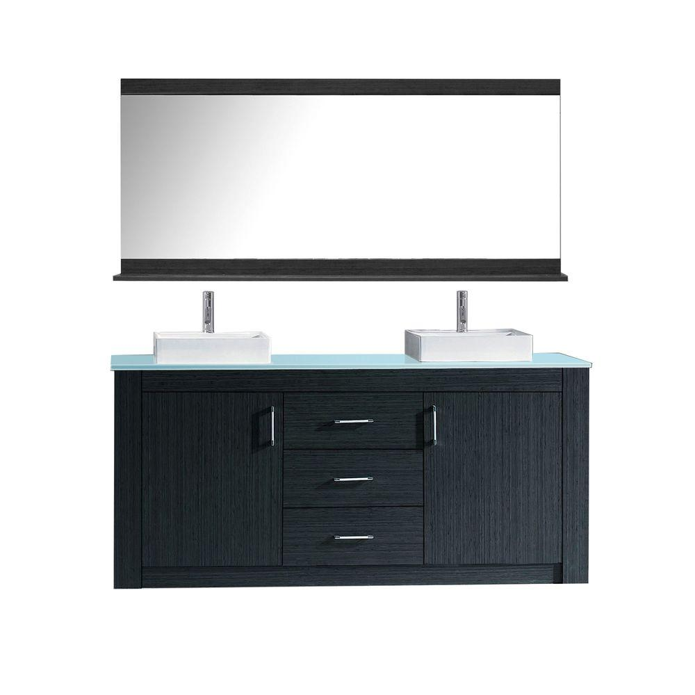 Virtu Usa Tavian 60 In W Bath Vanity In Gray With Glass Vanity